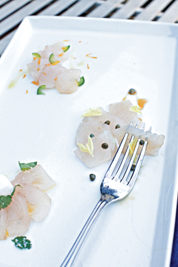 Wahoo Crudo with Three Different Flavors