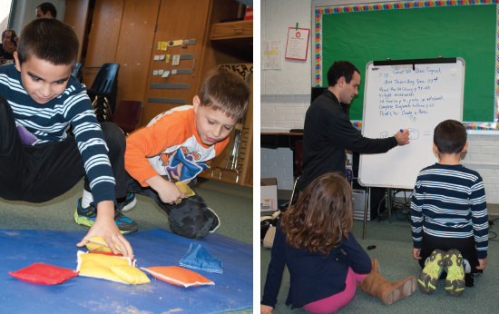 Columbia Elementary teacher Jason Kain correlates math with movement during an intervention session with second graders. (Photography by Lynn Norusis)