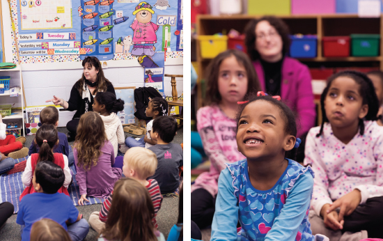 Mary Beth Quick leads the kindergarten and first grade classes in mindfulness at Pinecrest School (Photography by Erick Gibson)