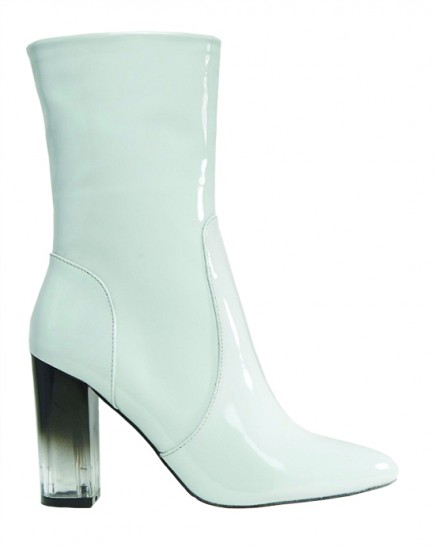 Lost Ink Geneva Gray High Cut Clear Heel Ankle Boots