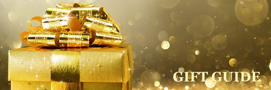Christmas Present With Golden Sparkling Background